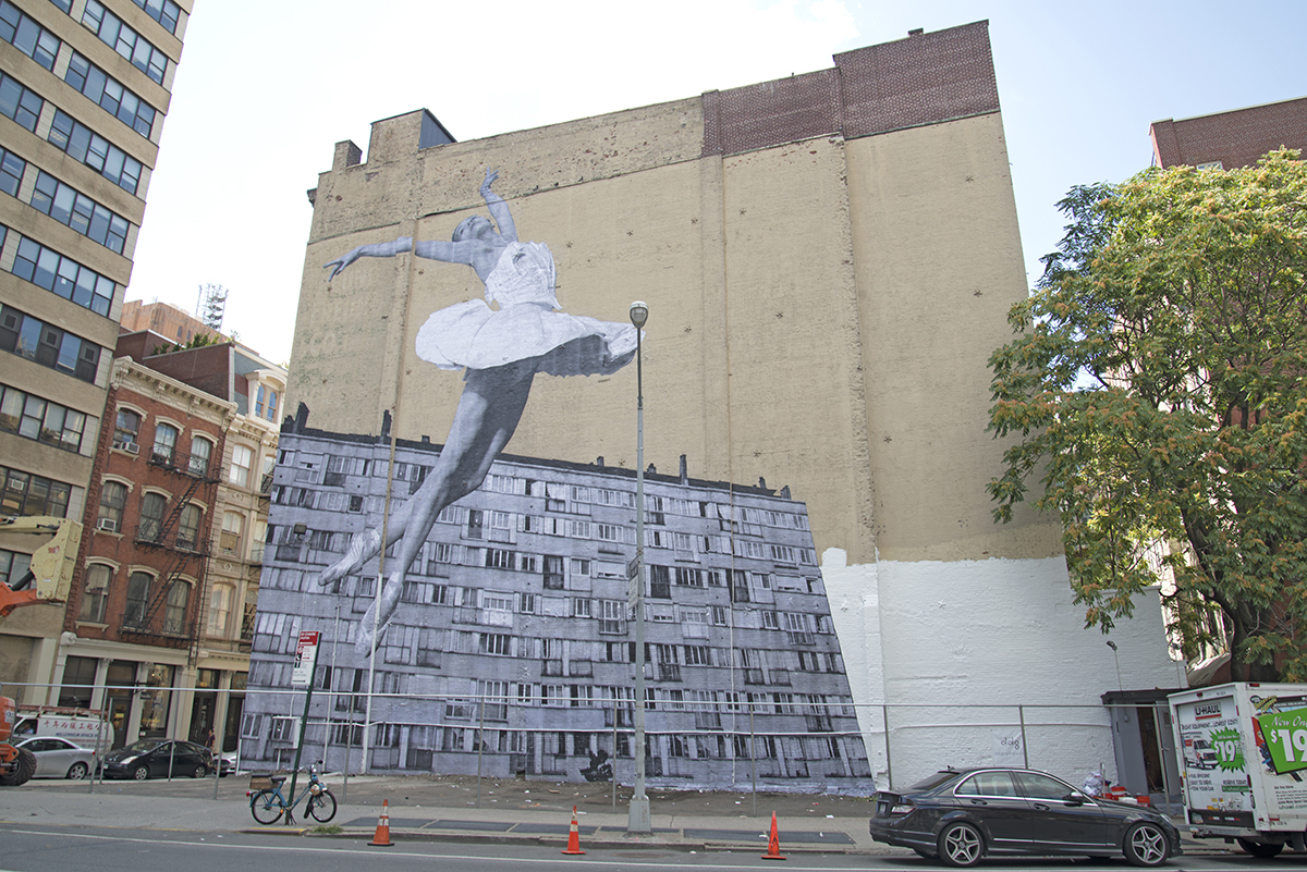 Tivoli Ny Street Painting Festival Street Artist Jr Installs 75 Foot Ballerina Photo At Ddg