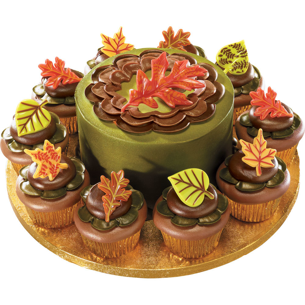 Cupcake Kuchen Autumn Leaves Cake And Cupcakes Decopac