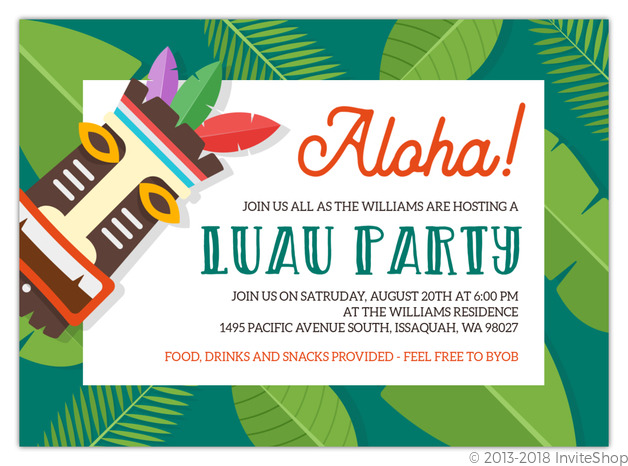 Fun Tropical Tiki Luau Party Invitation Luau Invitations