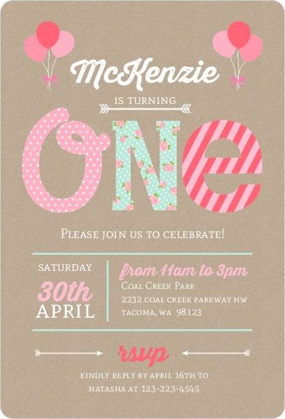 Kraft Pink  Mint First Birthday Party Invitation First Birthday