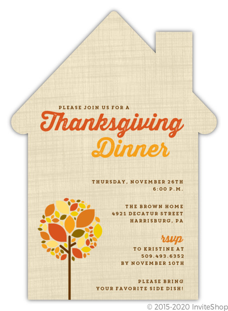 Autumn Tree Thanksgiving Invitation Thanksgiving Invitations