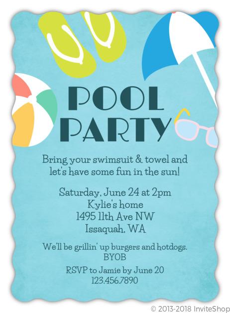 Fun In The Sun Pool Party Invitation Kids Birthday Invitations