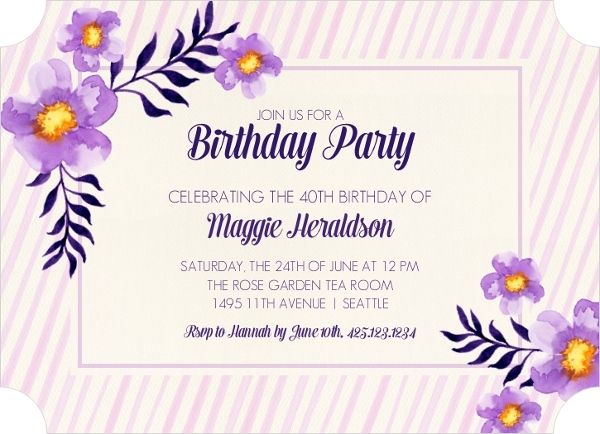 Purple Watercolor Floral Birthday Invitation Adult Birthday