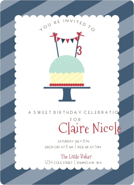 Red White and Blue Cupcake Birthday Party Invitation Kids Birthday