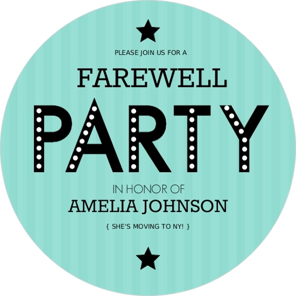 Farewell Striped Turquoise Going Away Invitation Going Away