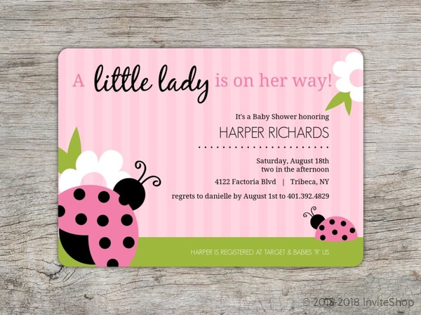 Pink and Green Lady Bug Girl Baby Shower Invitations Baby Shower
