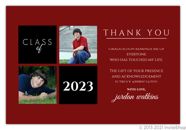 Gray and Red Squares Graduation Thank You Card Graduation Thank
