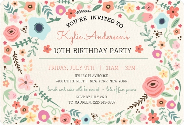 Beautiful Floral Frame Birthday Party Invitation Kids Birthday - birthday party invitations