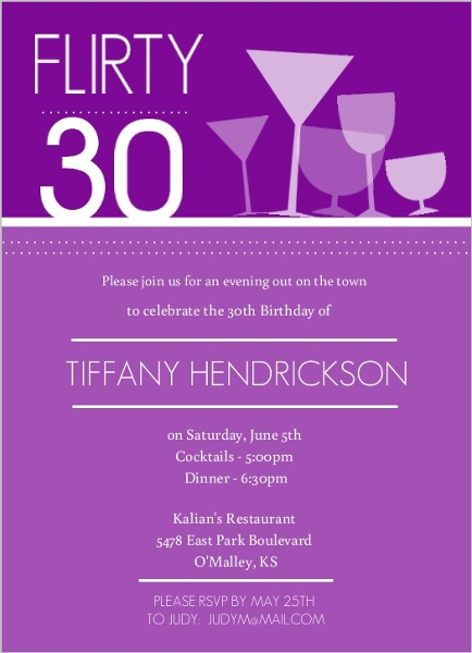Purple Happy Hour Drinks Birthday invitation Adult Birthday