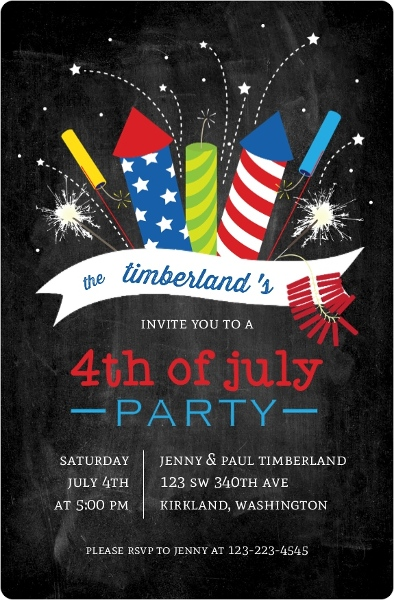 Colorful Exploding Fireworkds 4th Of July Party Invitation 4th Of