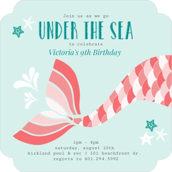 Coral Mermaid Tail Kids Birthday Invitation Kids Birthday Invitations - kids birthday invites