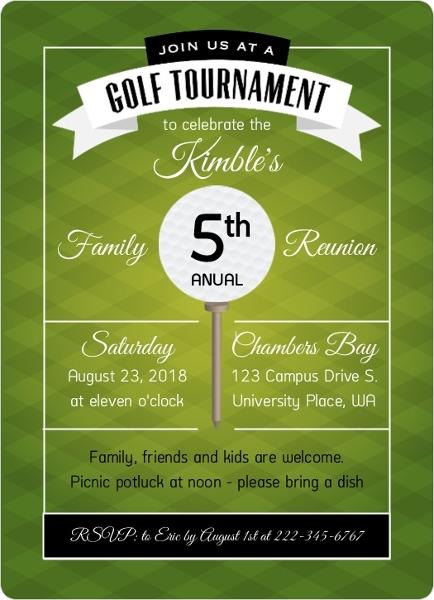 Modern Green Golf Tournament Family Reunion Invitation Reunion