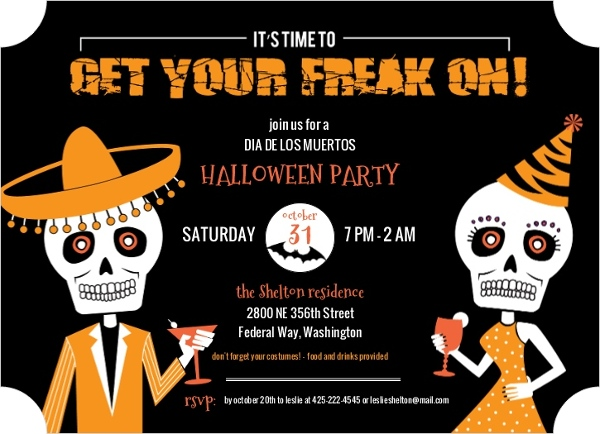 Freaky Dia De Los Muertos Halloween Party Invitation Halloween - invitation for halloween party