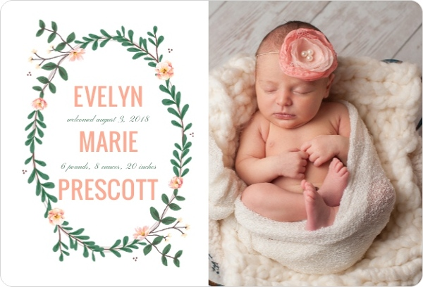 Spring Greenery Frame Girl Birth Announcement Girl Birth Announcements - Baby Girl Birth Announcements