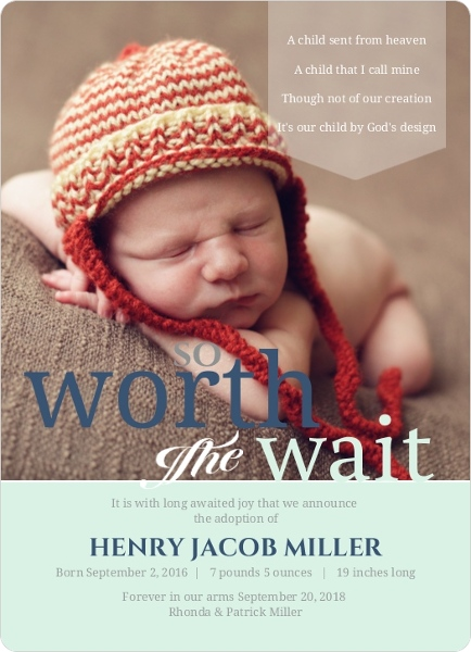 Worth The Wait Typography Adoption Announcement Birth Announcements
