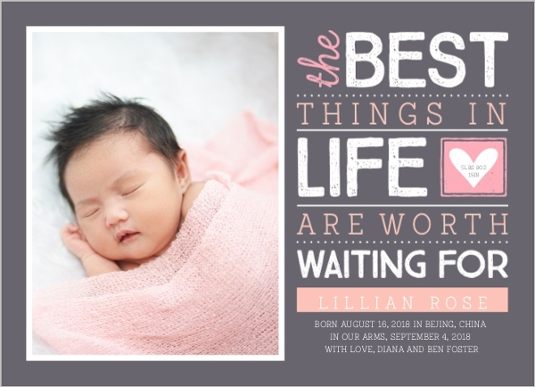 Waiting For Charming Typography Adoption Announcement Birth