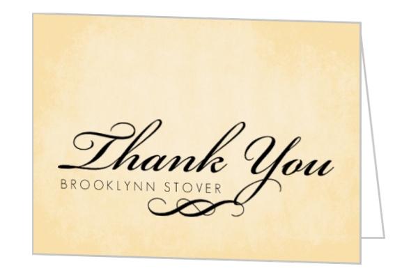 Textured Cream and Black Flourish Thank You Card Graduation Thank