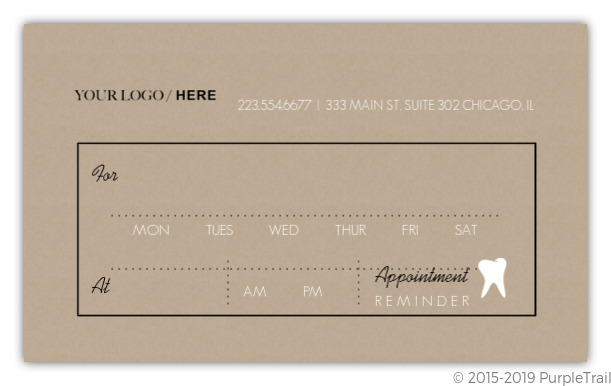 Kraft Paper Black White Dental Appointment Card Appointment Cards