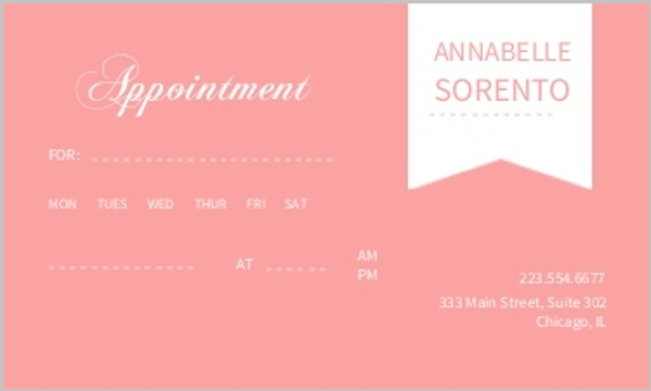 Pink And White Banner Appointment Card Appointment Cards
