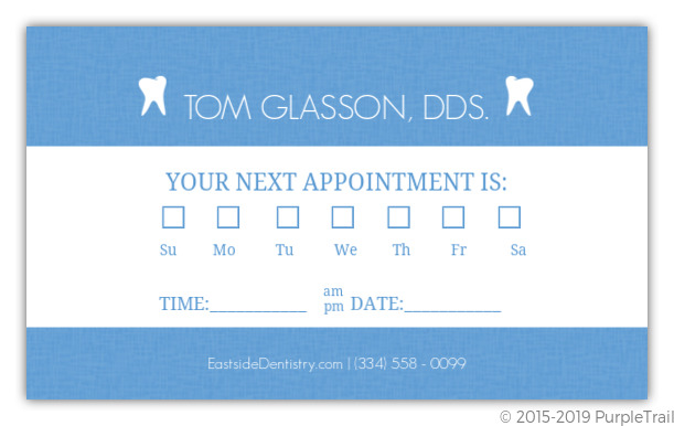 Simple Blue Dentist Appointment Card Custom Business Cards