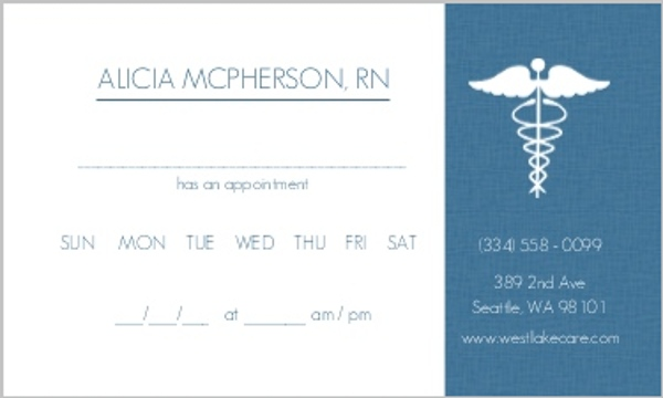 Blue Medical Appointment Card Appointment Cards