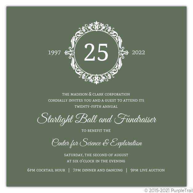 green elegant monogram business anniversary invitation