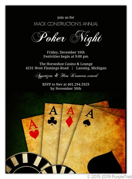 Rustic Poker Cards Corporate Event Invitation Business Party