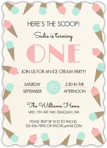 Ice Cream Scoop Birthday Party Invitation First Birthday Invitations