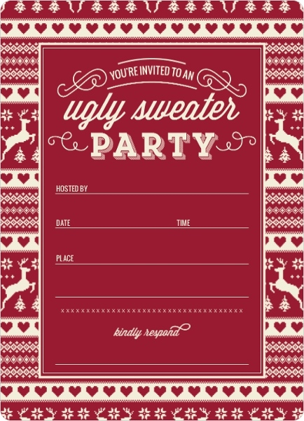 Vintage Sweater Fill in the Blank Holiday Party Invitation
