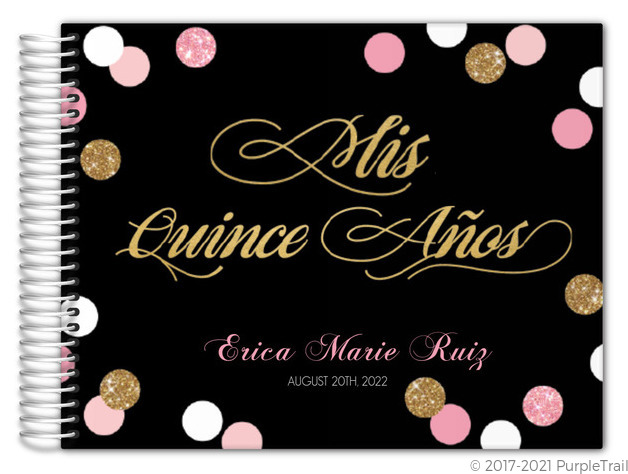 Sparkling Pink and Gold Quinceanera Guest Book Quinceanera Guest Books