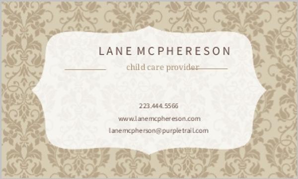 Brown Damask Frame Business Card Business Cards