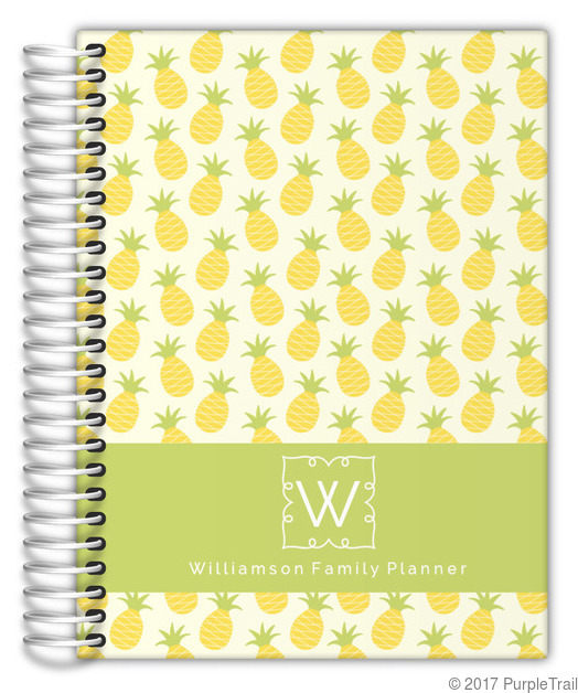 Pineapple Monogram Custom Daily Family Planner 6x8 Daily Planners