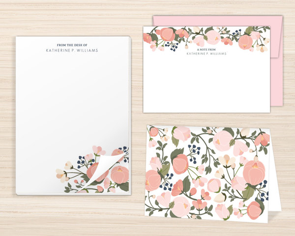 Pink Spring Floral Stationery Set Stationery Sets