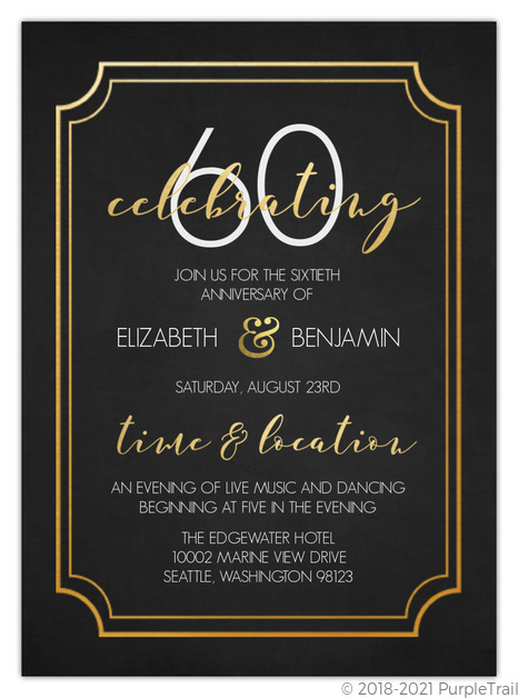 Timeless Faux Gold 60th Wedding Anniversary Invitation 60th