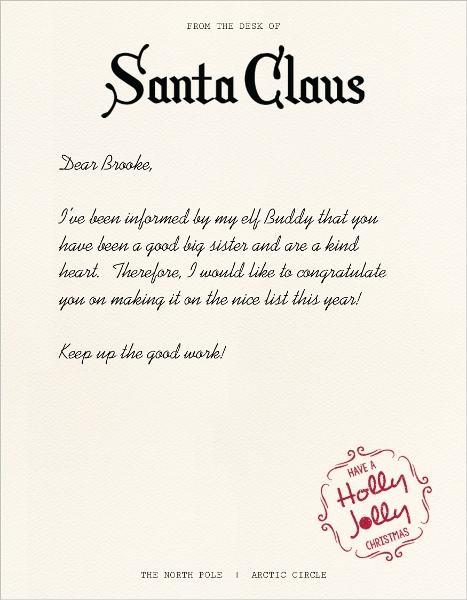 Nice List Santa Letter Christmas Letter Templates