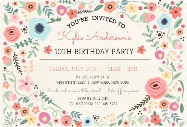 Girls Birthday Invitations  Girls Birthday Party Invitations - kids birthday invites