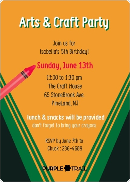 Colorful Crayon Box Birthday Party Invitation Kids Birthday
