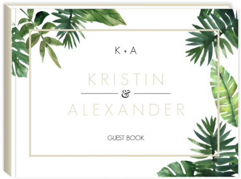 Tropical Green Leaves Wedding Guest Book Wedding Guest Books