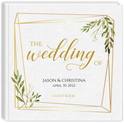 Faux Gold Frame Leaves Wedding Guest Book Wedding Guest Books - guest books wedding