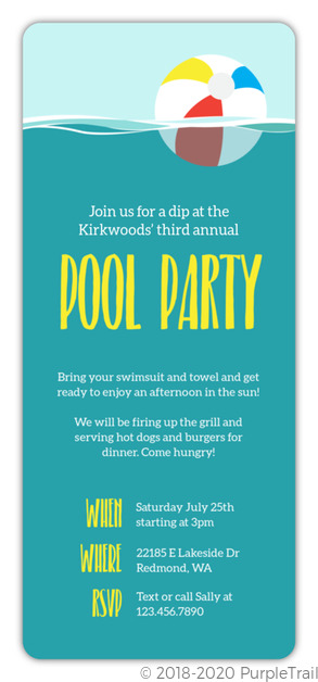 Underwater Beach Ball Pool Party Invitation Pool Party Invitations