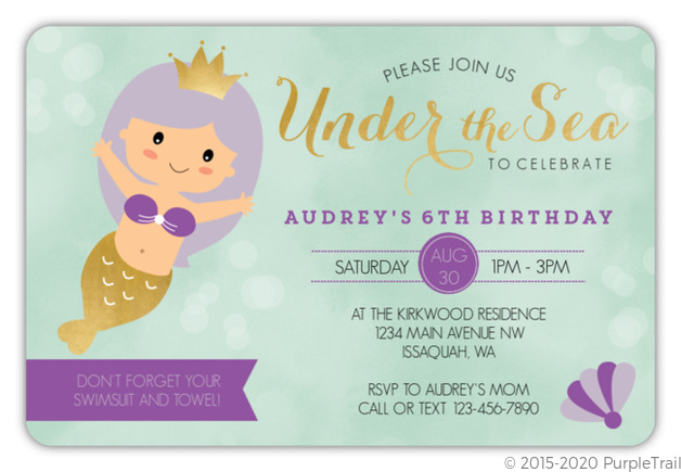 Purple Mermaid Princess Birthday Invitation Kids Birthday Invitations