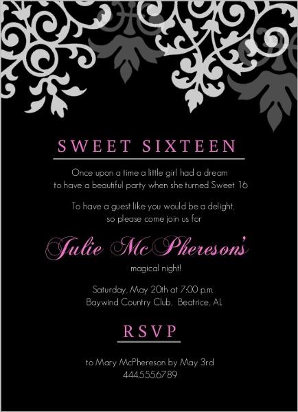 Black And Pink Flourish Sweet 16 Birthday Invitations Teen