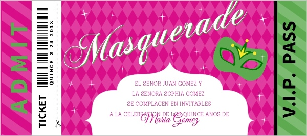 Pink And Green Masquerade Ticket Quinceanera Invitation