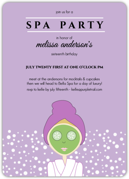 Spa Party Invitations, Spa Day Invites - spa invitation