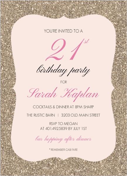 Glitter and Pink 21st Birthday Invitation 21st Birthday Invitations
