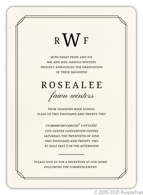 Formal Double Frame Graduation Invitation Graduation Invitations