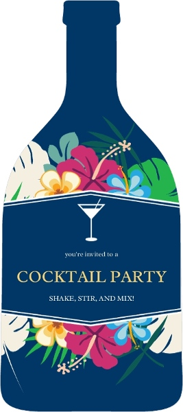 Tropical Bottle Cocktail Party Invitation Cocktail Party Invitations - cocktail party invitations