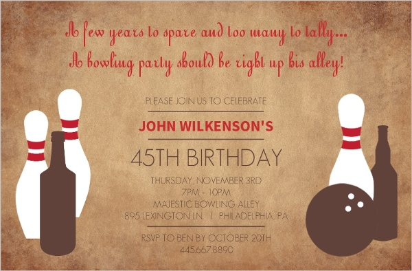 Rustic Pins Adult Bowling 45Th Birthday Invitation 40th Birthday