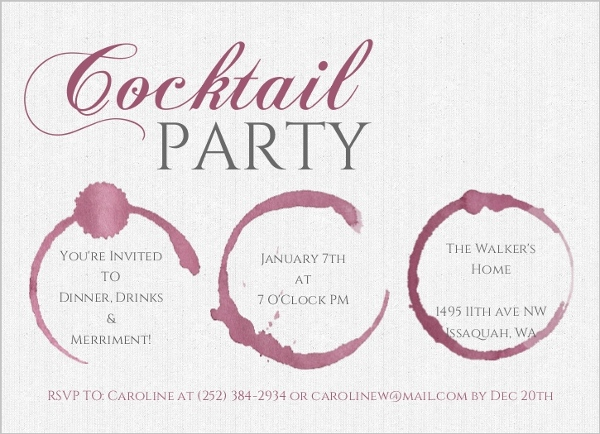 Wine Stain Cocktail Party Birthday Party Invitation 50th Birthday - cocktail party invitations