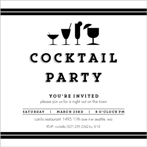Black  White Cocktail Party Invitation Cocktail Party Invitations - invitation for cocktail party